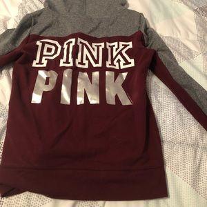 Victoria's Secret Tops - Victoria's Secret full zip burgundy sweatshirt.